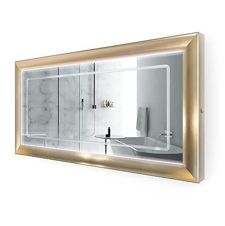 Amazon.com: LED Lighted 60 Inch x 30 Inch Bathroom Gold Frame Mirror ...