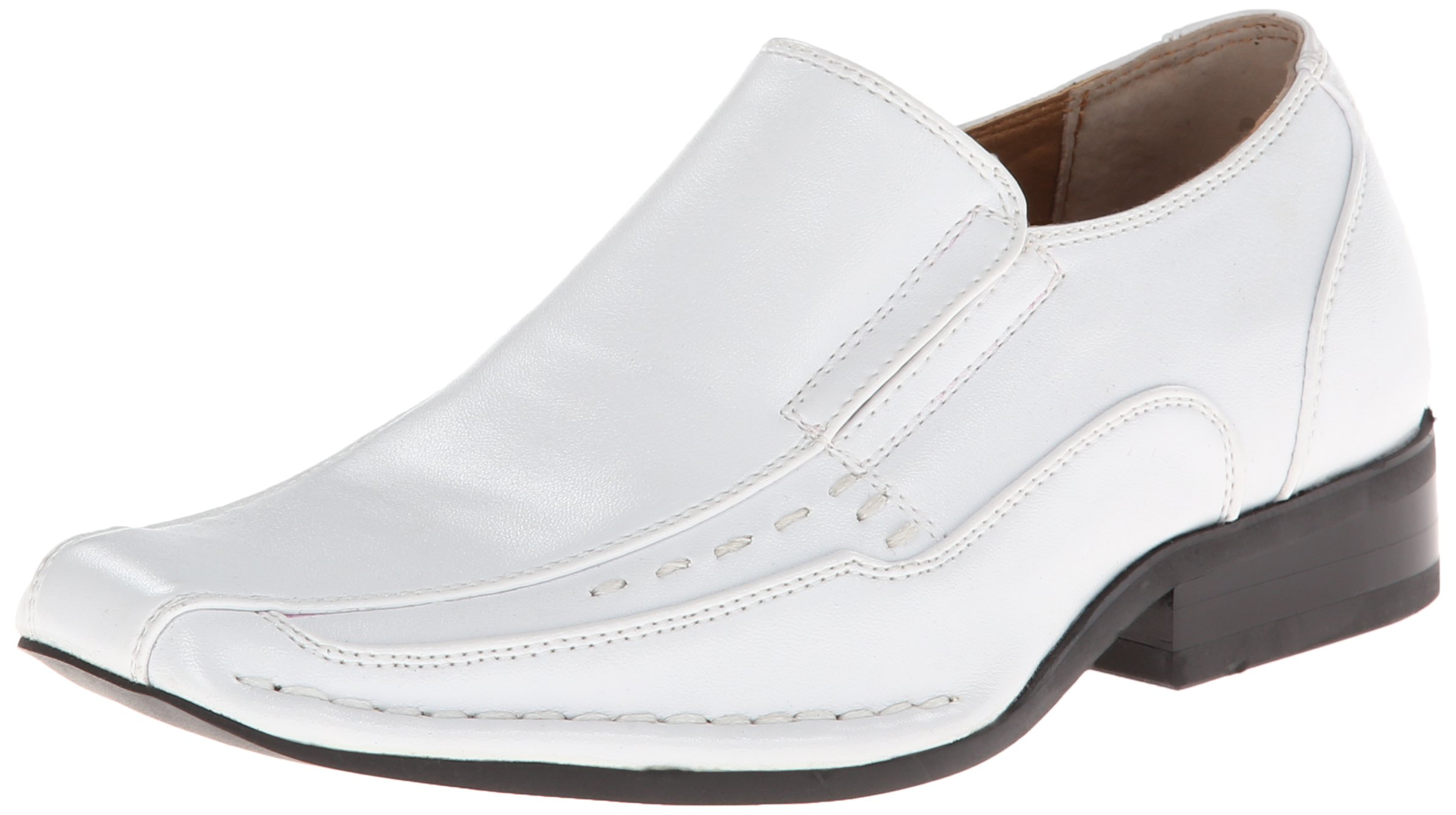 Stacy Adams Templin Bicycle Toe Slip-on Uniform Dress Shoe With Double Elastic Side Gore (Little Kid/Big Kid),White,11.5 M US Little Kid