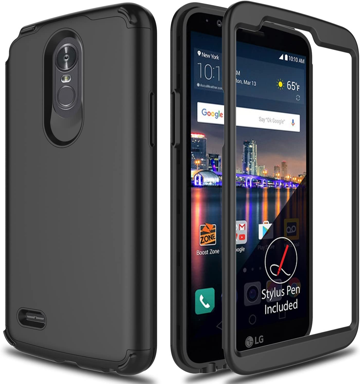 LG Stylo 3 Case, Stylo 3 Phone Case 2017 AMENQ 3 in 1 Heavy Duty Protection Absorb Impact Touch Silicone Rubber Smooth PC Cover [Black] for LG Stylo 3 LS777 -Matte Without Built in Screen Protector