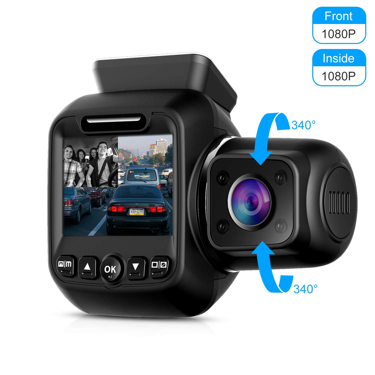 Upgraded Pruveeo P3 Dash Cam with Infrared Night Vision, Built-in GPS, WiFi, Dual 1080P Front and Inside, Dash Camera for Cars Uber Lyft Truck Taxi