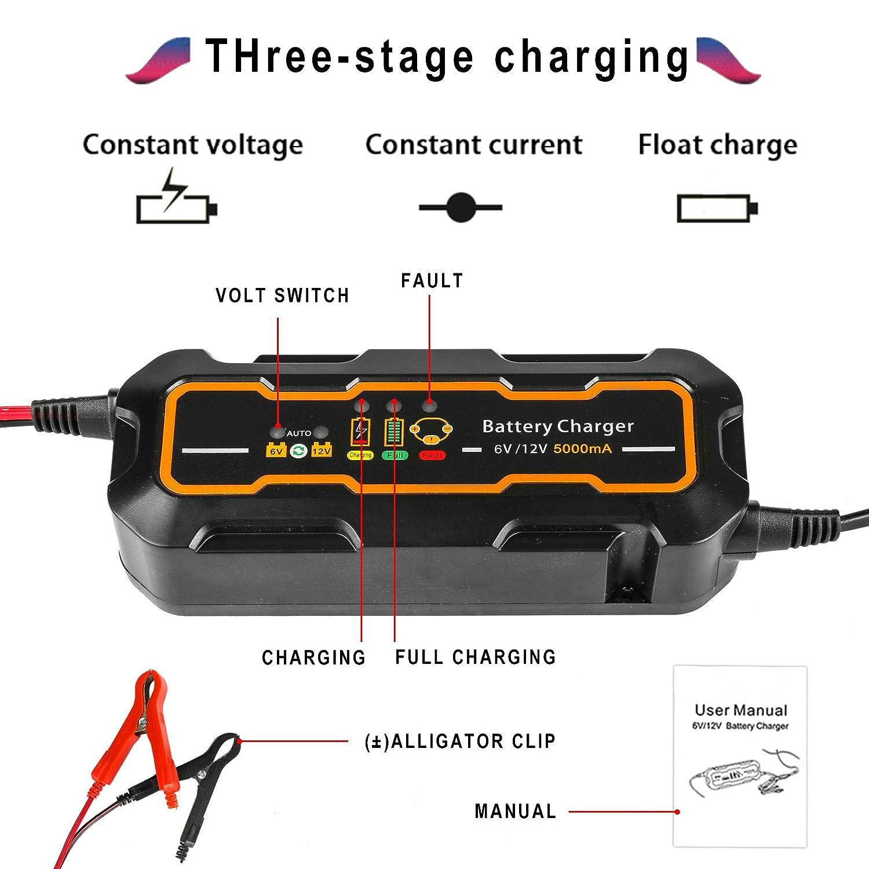 Cargador de batería, 12V / 6V 5A Cargador de batería del ...