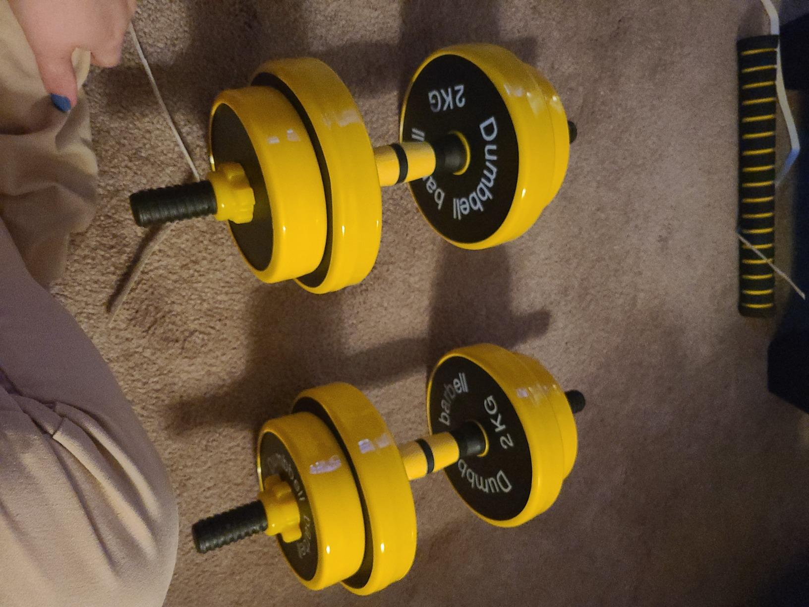 Nice C Adjustable Dumbbell Set Barbell Weight Pair , Free Weights 2-in-1 Set, Non-Slip Neoprene Hand, All-Purpose, Home, Gym, Office photo review