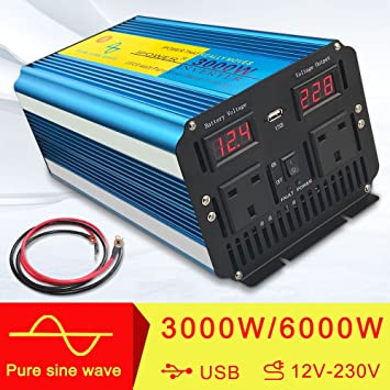 Peak Yinleader CAR CARAVAN CAMPING BOAT 1500W Pure Sine Wave Power Inverter Soft Start Dual AC Sockets 12V DC to 230V AC convertor with LCD DISPLAY 3000W