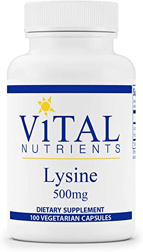 Vital Nutrients – Lysine 500 mg – Supports Immune Function and Normal Arginine Levels – Promotes Calcium Absorption – 100 Vegetarian Capsules per Bottle