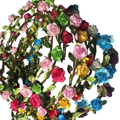 Cdet 10X Cintas para el Pelo Rosas de Playa Flor Pelo Banda de Pelo de Corona Nupcial: Electrónica