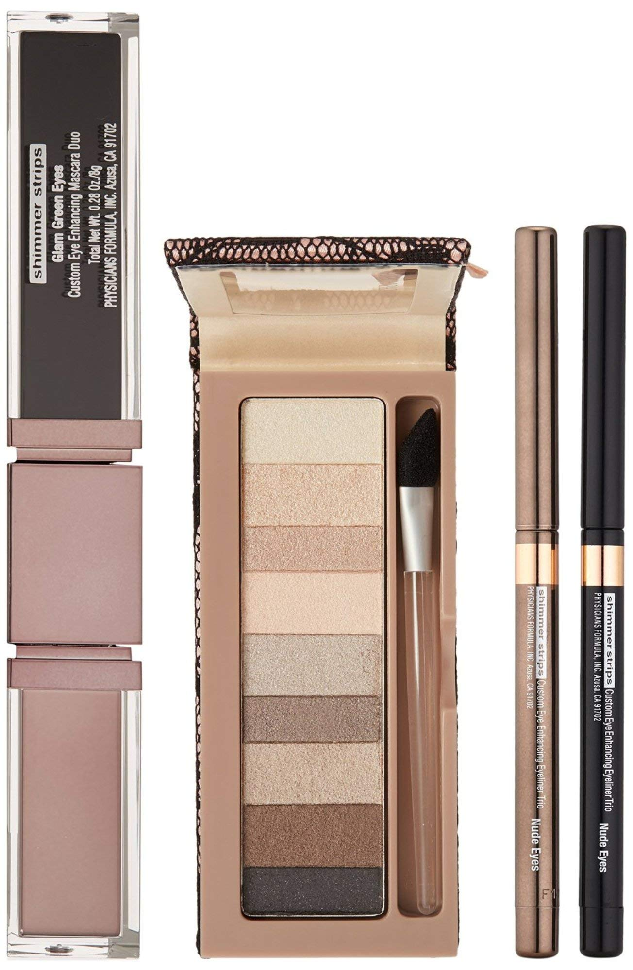 Physicians Formula Shimmer Strips Custom Eye Enhancing Kit with Eyeshadow, Eyeliner & Mascara, Nude