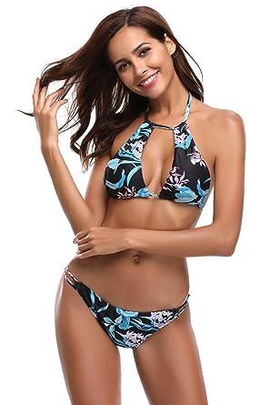 a1e80cf475 Image Unavailable. Image not available for. Colour  Dromild Women s Halter  Neck Swimsuit Leaf Print Bikini Set Two Piece Beachwear Bathing Suit