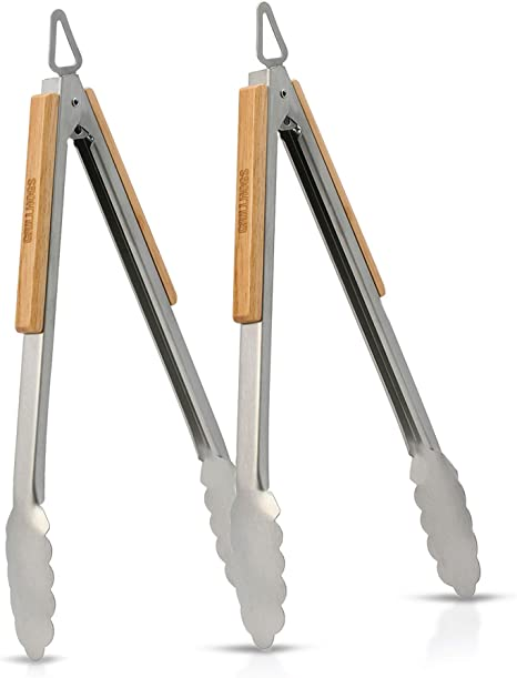 Fliegliystore Stainless Steel Grill Tongs Heavy Duty Cooking Grilling Barbecue Tool Kitchen Accessories,6 inches
