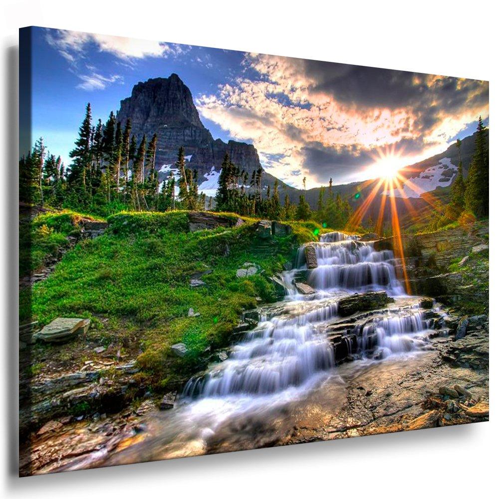Bilder Kunstdrucke   Boikal   Leinwandbild, Bild mit Keilrahmen Wasserfall Wald, Landschaften   Natur 80x60 cm xxl.225