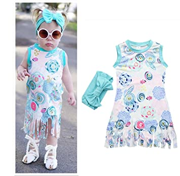 064bad022 Franterd Baby Shirt Dress with Tassel for Little Girl Toddler Kids Floral  Printing Pageant Sleeveless Daily