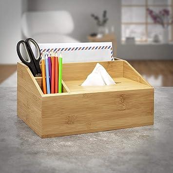 Organizador de escritorio de bambú con caja de pañuelos para ...