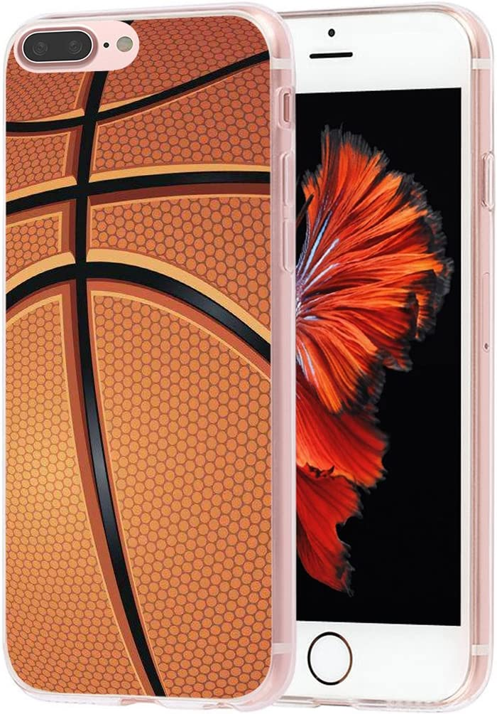 MUQR Case for Phone 7 Plus Basketball Flexible Gel Silicone Slim Drop Proof Protection Cover Compatible with iPhone 8 Plus & Case for Phone 7 Plus Cover - Basketball Sport Design Pattern