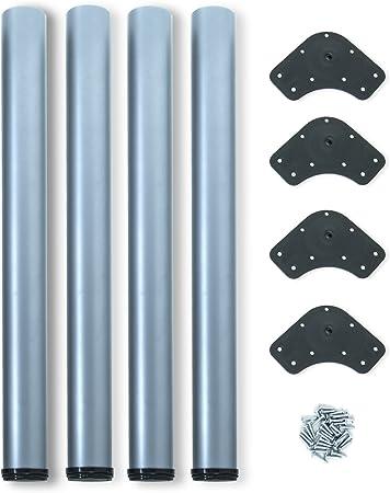 Emuca 2034525 Set Di 4 Gambe Regolabili Per Tavolo O60 X 710 Mm In Acciaio Verniciato Alluminio O60x710mm Amazon It Fai Da Te