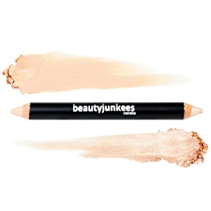 Brow Concealer & Highlighter Duo Pencil Crayon Cool Beige, Matte and Shimmer Eyebrow Shaper, Paraben Free, Gluten Free