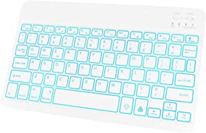 JUQITECH Backlit-Wireless-Bluetooth Rechargeable Keyboard - for iPad 10.2 iPad 9.7 iPad Pro 11 12.9 2020 iPad Air/Mini Laptop Universal 7 Colors Tablet Keyboard for iOS Android Windows, White