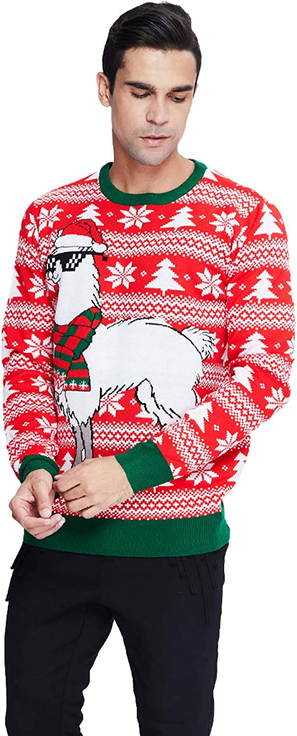 Fanient Men Women Ugly Christmas Sweater Unisex Long Sleeve Crewneck Pullover Tops for Xmas Party