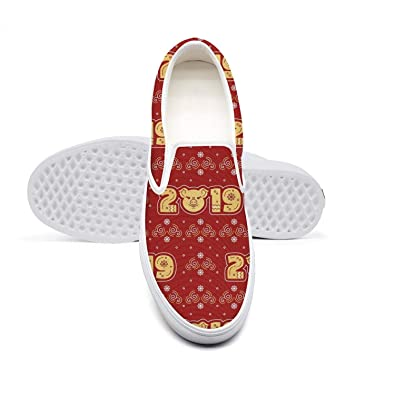 661760425aaf Fashion Canvas Slip-on Shoes for Women 2019 New Year Golden Pig Red Best  Cycling