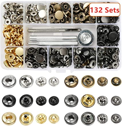 Snap Buttons Fastener Installation Press Studs with Fixing Tools for Leather Coat Down Jacket Pure Brass Button Kit 100 Sets