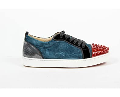 a19768f44b6d0 Christian Louboutin Womens Sneaker Louis Junior Spikes Woman Flat Patent/V  V008 Version Blue Khol