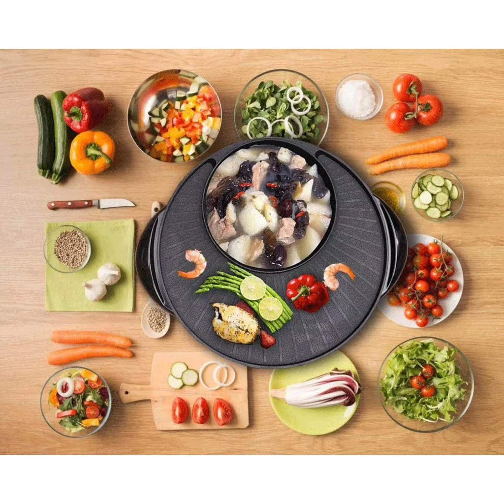 WSJTT Large Multi Cooker   Electric Frying Pan with Glass Lid,44cm Non-Stick Surface and Cool Touch Handles   Cooker Pot Electric Hot Pot Electric Barbecue Electric Baking Pan 1500W by WSJTT (Image #2)