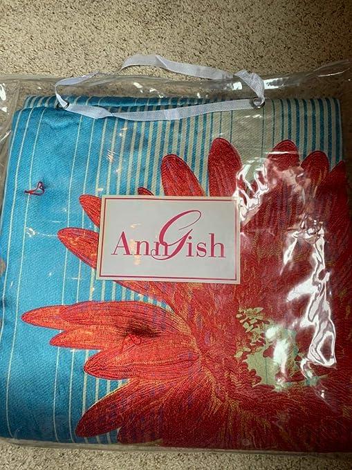 $595 NWT Ann Gish Flower Power Turquoise Floral Throw Blanket GORGEOUS!