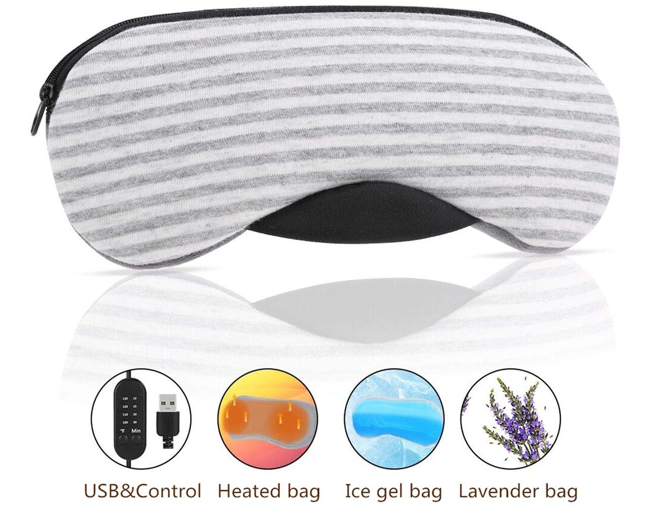 Heated Eye Mask, Esonmus USB Sleep Mask with Adjustable Temperature and Time Control, Warm and Cold Massage to Relieve Dry Eye Syndrome, Eye Stress, Tired Eyes,with Earplugs