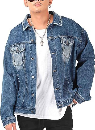 ラグスタイル デニムジャケット メンズ Gジャン 大きい ペイズリー柄 カツラギ ツイル