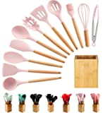 Silicone Cooking Utensils Kitchen Utensil Set -12Pcs Wooden handle Tools accessories Heat Resistant Turner Tongs…