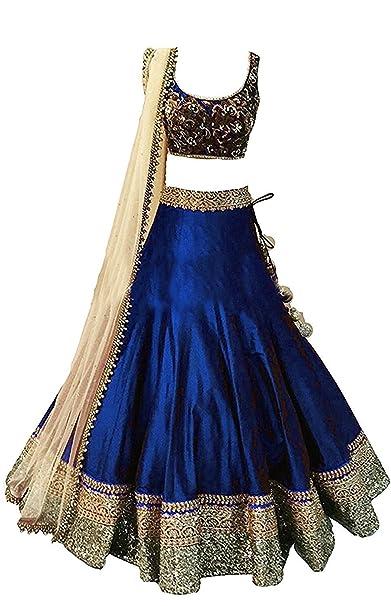 8eb052acf342 Mahavir Fashion Girls Blue Benglori Silk Un-stitched Lehenga Choli ...