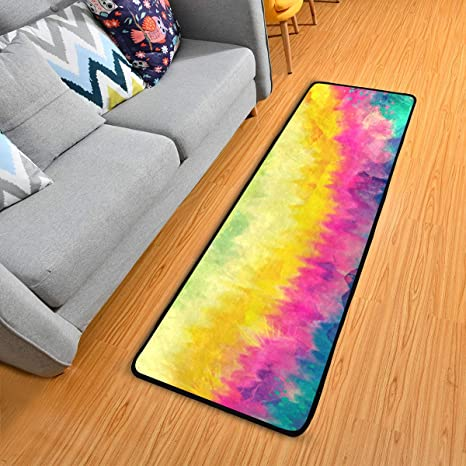 Amazon Com Extra Long Door Mat Rainbow Background Tie Dye Style Kitchen Area Rug Carpet Entrance Rug Skid For Home Office Room 72 X 24 Inch Non Slip Kitchen Dining