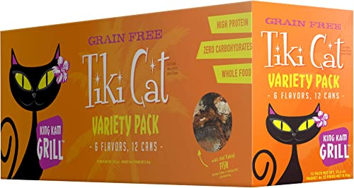 Tiki Cat Grill Grain-Free, Low-Carbohydrate Wet Food with Whole Seafood in Broth for Adult Cats Kittens