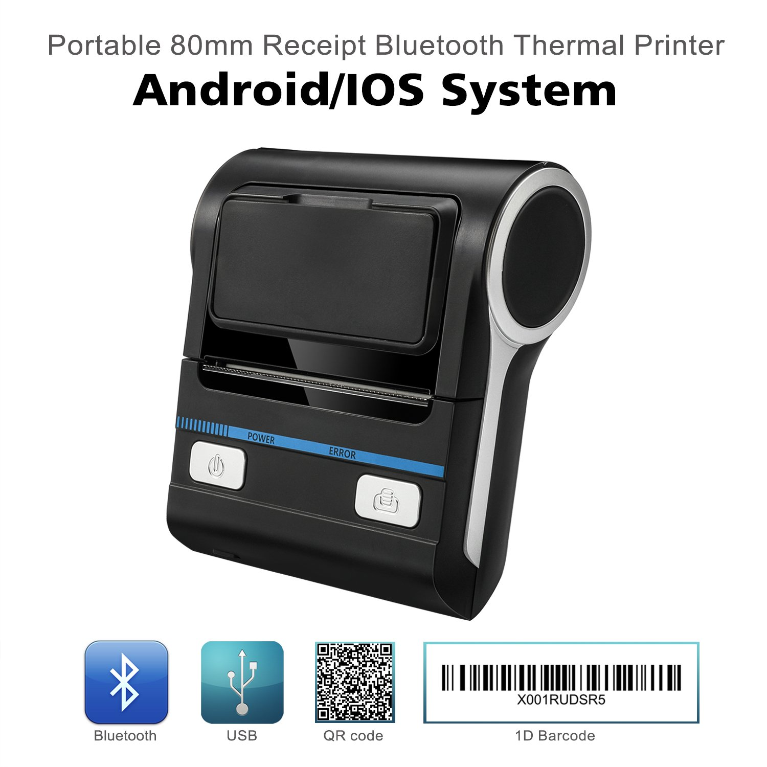 Thermal Receipt POS Small Printer 80mm Bluetooth Printer Compatible with Android/iOS/Windows System ESC/POS Print Commands Set for Office and Small Business
