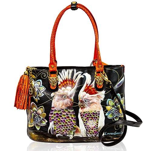Marino Orlandi Lienzo pintado a mano de loros pintado a mano de diseñador italiano: Amazon.es: Zapatos y complementos