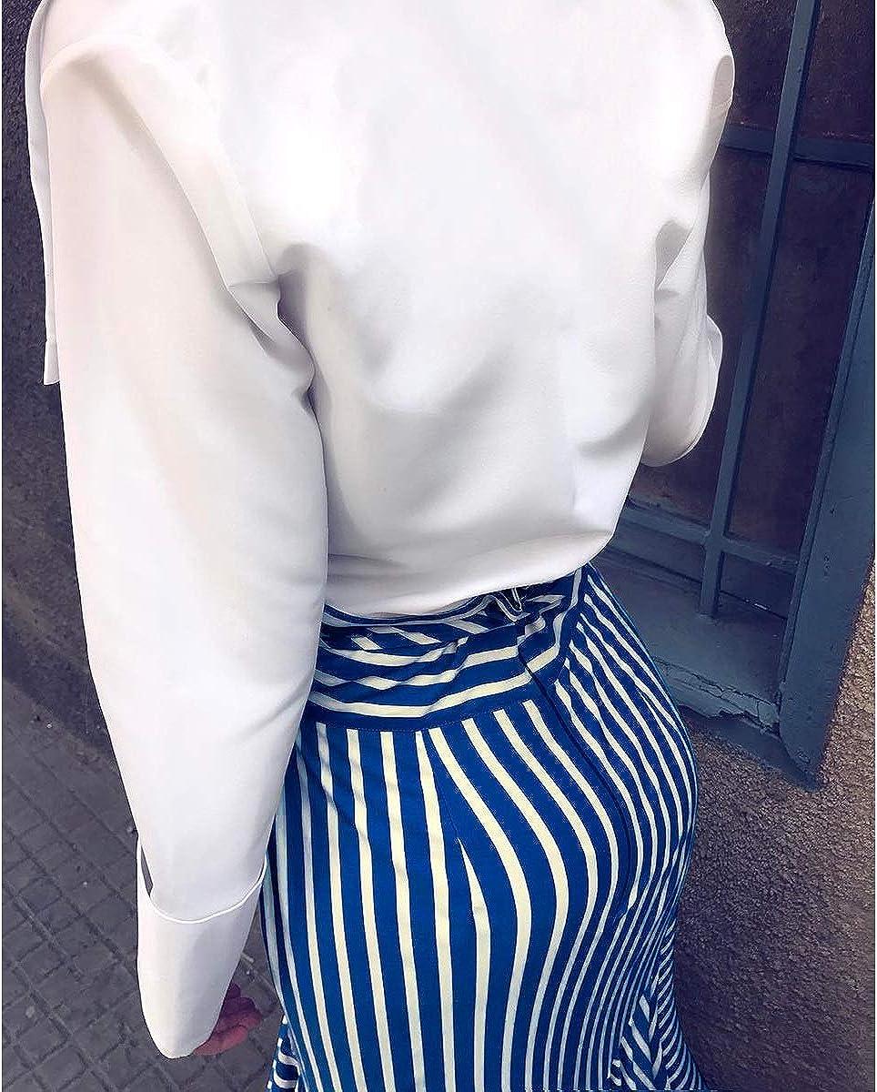 Gadfjuotg Striped Sirena Bodycon Falda Mujeres Corbata Cintura ...