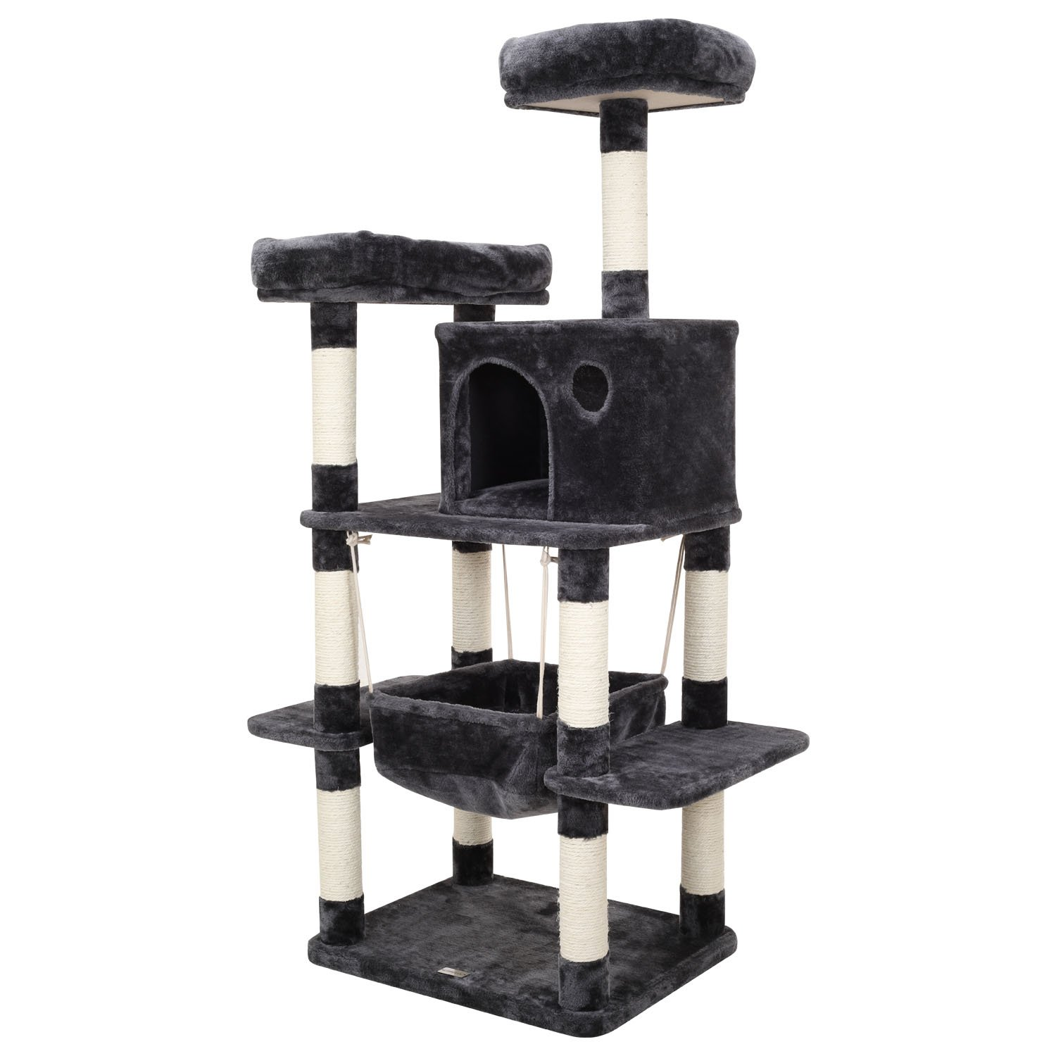 Ollieroo Cat Climbing Tree Tower Condo Scratcher Furniture Kitten House Hammock with Scratching Post and Top Soft Perches for Cats Kittens Playhouse Dark Gray