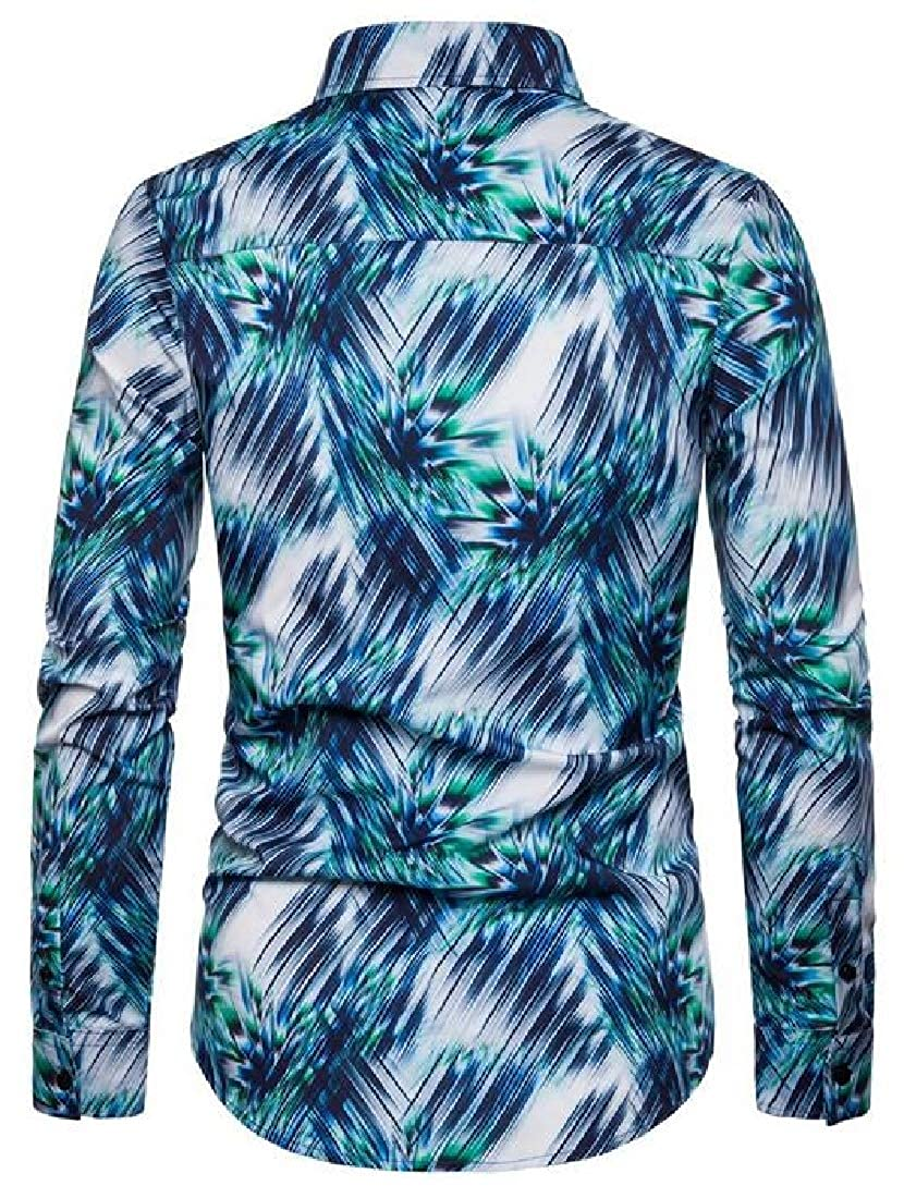 JXG Men Casual Shirts Long Sleeve Stretchy Printed Loose Button Up Shirt Top