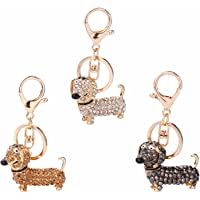 GOOTRADES Set of 3 Bling Dog Dachshund Keychain Handbag Pendant Car Decor Key Ring