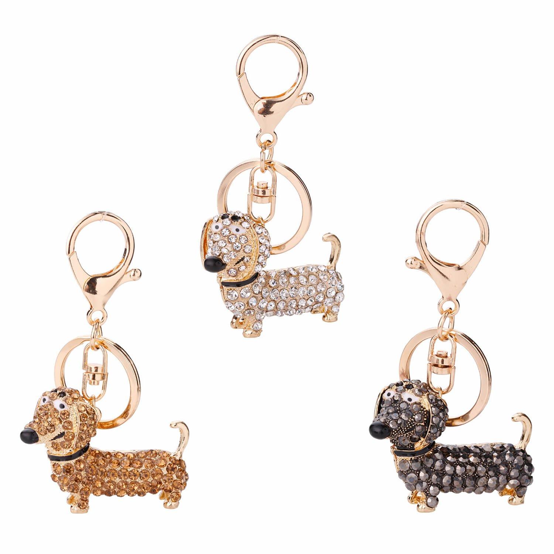 GOOTRADES Set of 3 Bling Dog Dachshund Keychain Handbag Pendant Car Decor Key Ring