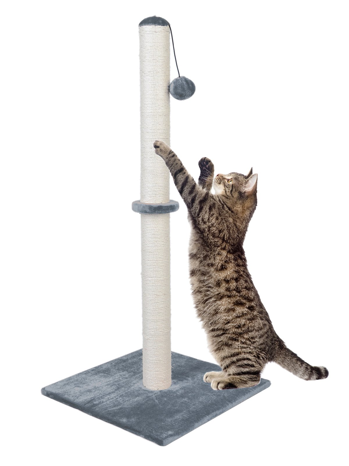 Dimaka 37'' Tall Ultimate Cat Scratching Post, Claw Scratcher with Sisal Rope and Covered with Soft Smooth Plush, Vertical Scratch [Full Strectch], Modern Stable Design 37 Inches Height (Light Grey) by Dimaka