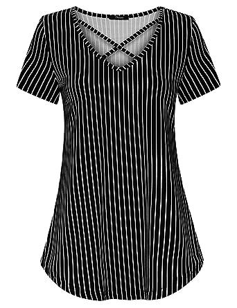 c3929f49 Ckuvysq Women's Short Sleeve V Neck Striped Casual Basic Tunics Tops at  Amazon Women's Clothing store: