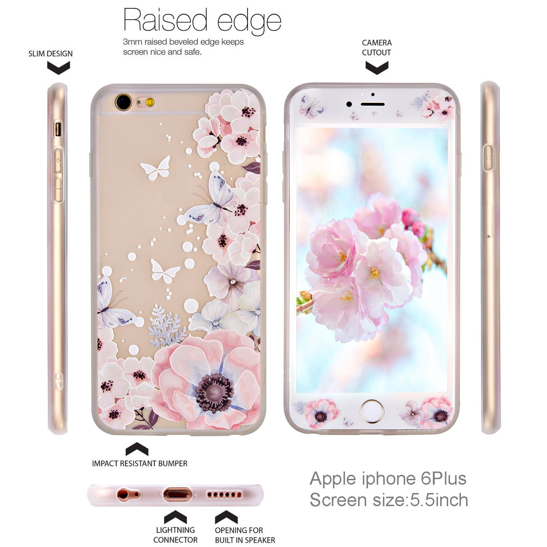 iPhone 6 Plus Hülle iPhone 6S Plus Hülle Panzerglas ZXK CO TPU Silikon Hülle Schutzhülle mit Muster Protective Backcover Case mit 9H Hartglas
