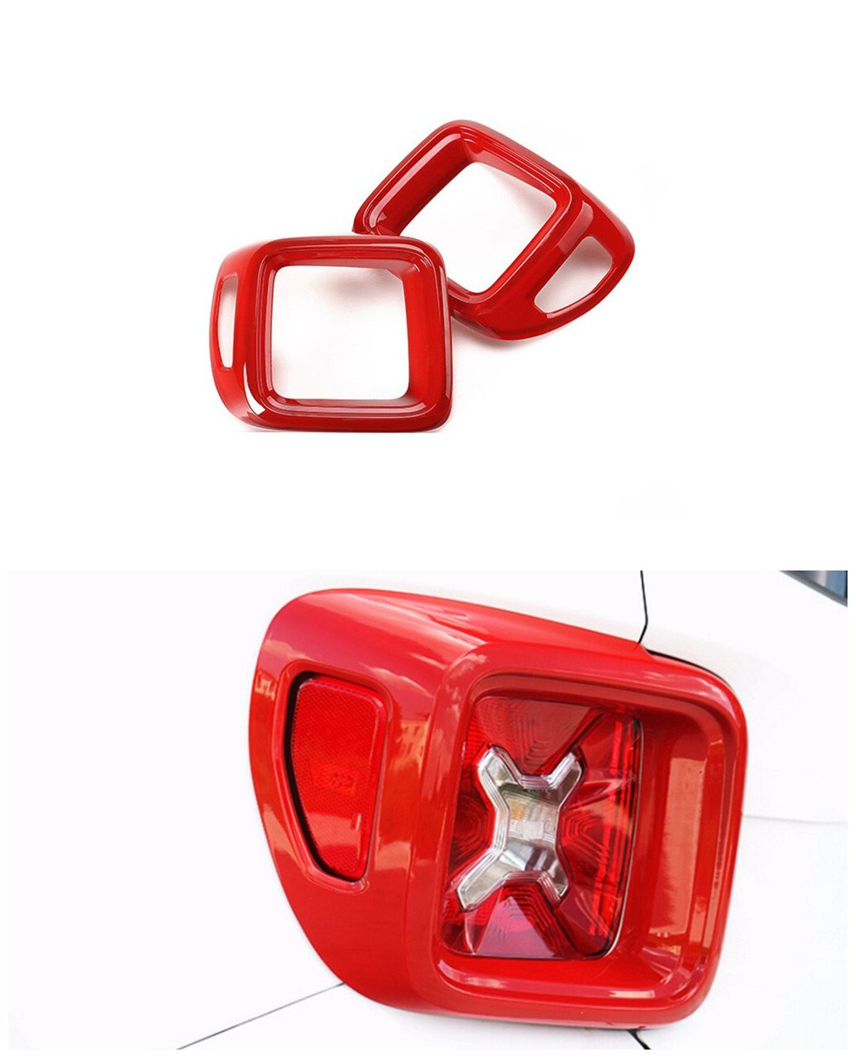 Dwindish Red ABS Car Tail Light Guard Rear Lamp Cover Trim for Jeep Renegade 2015 up