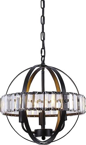 Galtalap Crystal Chandelier 14.6″ 3-Light Flush Mount Ceiling Light ETL Listed Adjustable Rods Pendant Lighting