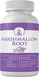 Marshmallow Root, 100 Capsules, 950 mg/Serving, 50 Servings, Pure & Potent, Non-GMO, Naturally High in Mucilage, No Fillers or Additives, Gluten-Free, Made in USA, Lab-Tested, Satisfaction Guaranteed*