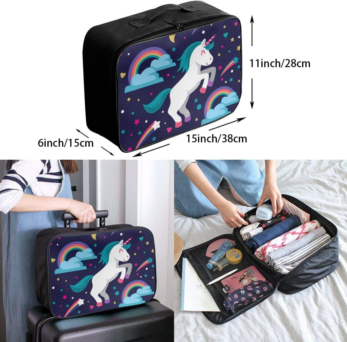 Cute-unicorn-with-rainbow Travel Carry-on Luggage Weekender Bag Overnight Tote Flight Duffel In Trolley Handle