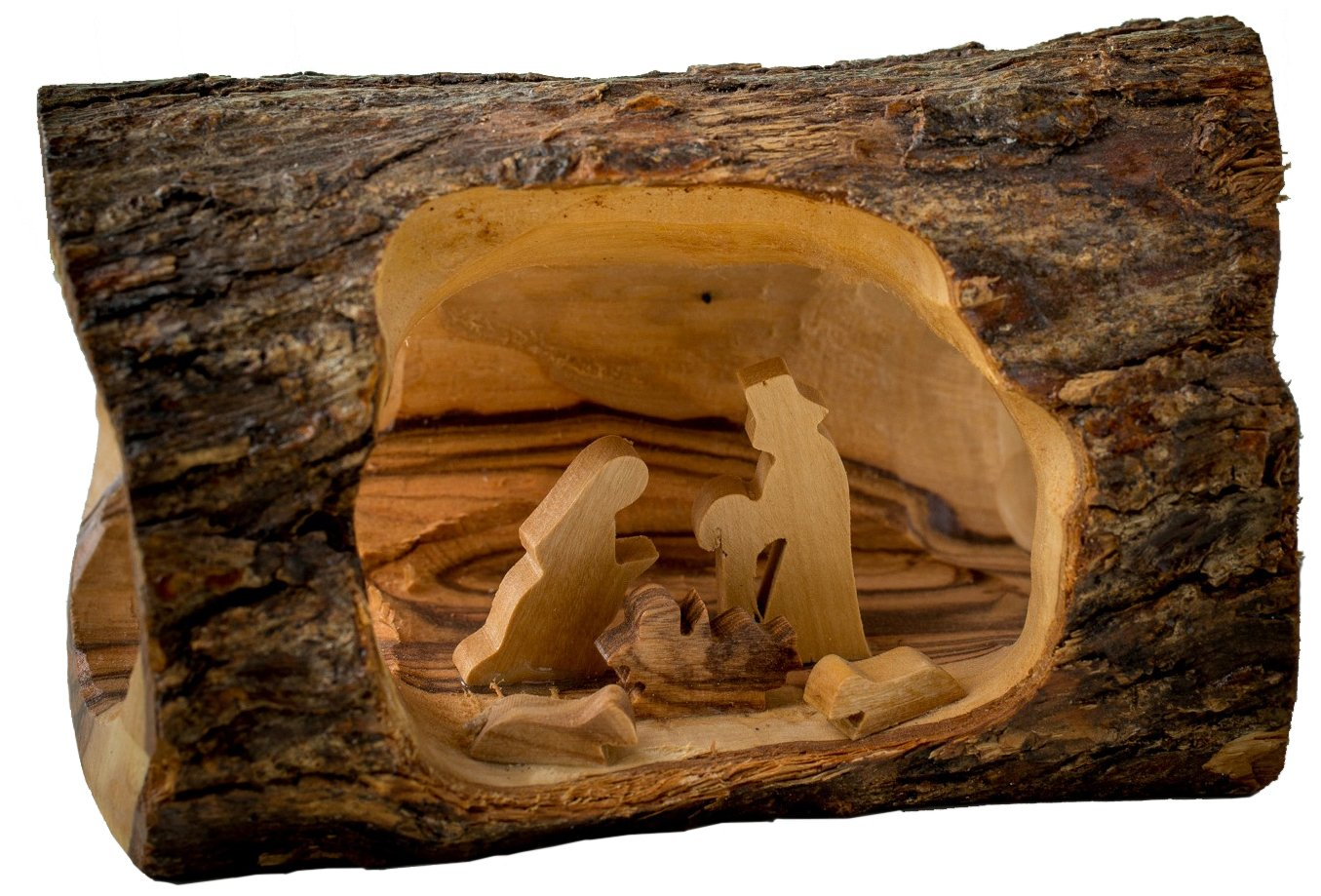 Earthwood Olive Wood Log Nativity, Small