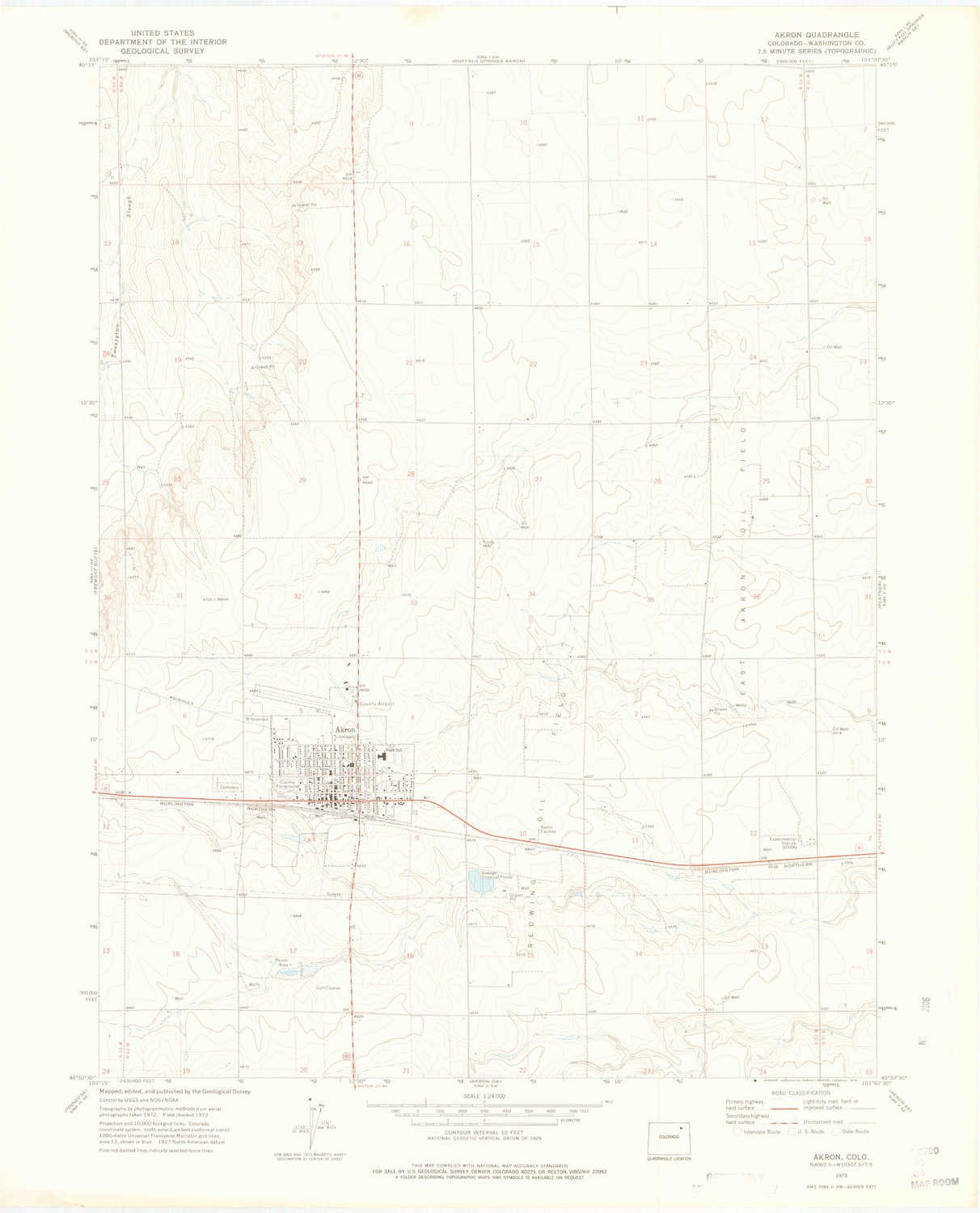 Akron Colorado Map.Amazon Com Yellowmaps Akron Co Topo Map 1 24000 Scale 7 5 X 7 5