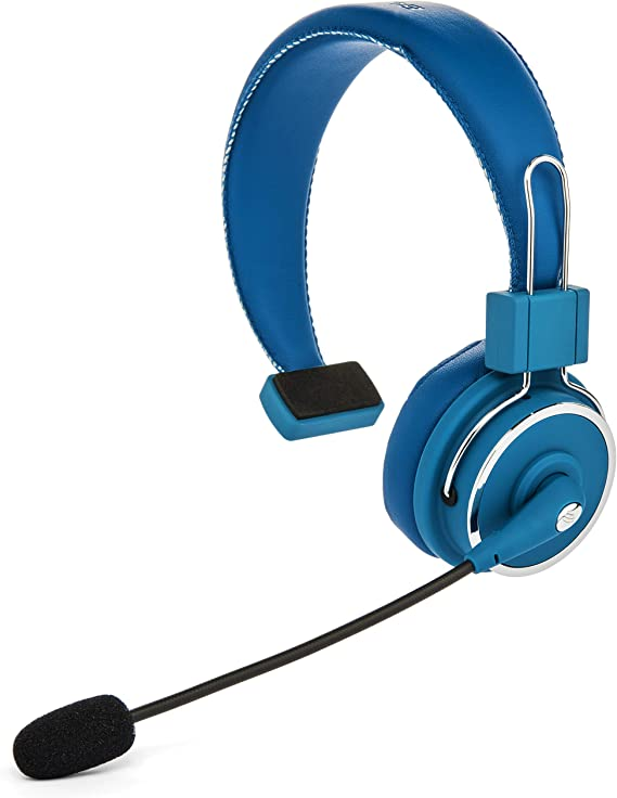 Amazon Com Blue Tiger Elite Premium Wireless Bluetooth Headset Professional Truckers Noise Cancellation Head Set With Microphone Clear Sound Long Battery Life No Wires 34 Hour Talk Time Blue