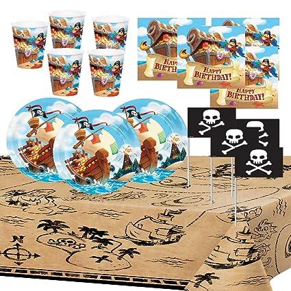 Pirata Artículos Fiesta Niño Chico Cumpleaños Accesorio Decoración Platos Tazas Servilletas Papel Mantel 8 niños
