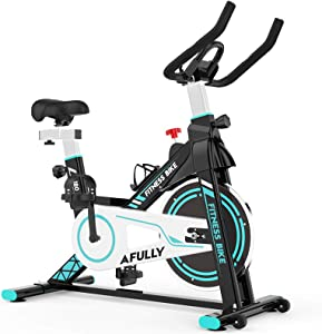 Afully Indoor Exercise Bike, Indoor Cycling Stationary Bike Belt Drive with Adjustable Resistance, LCD Monitor, Pad/Phone Holder, Comfortable Cushion Stable and Quiet for Home Cardio Workout